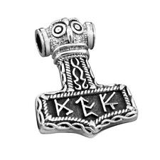 Sterling Silver Viking Thor Hammer Mjolnir Norse Runes Futhark Amulet Pendant