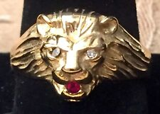 VINTAGE YELLOW GOLD PLATED MEN'S LION'S HEAD RING SIZE: 11