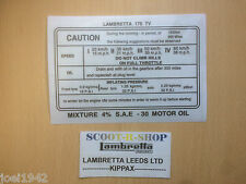 LAMBRETTA TV 175  SERIES 3  RUNNING IN STICKER. TV 175CC. BRAND NEW.