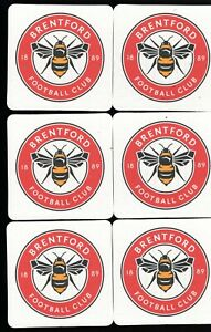 BRENTFORD F.C. Pack of Official Crested Beer Mats / Coasters FREE POSTAGE UK