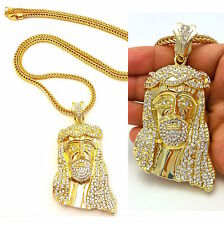 MENS ICED OUT HIP JESUS PENDANT FRANCO CHAIN NECKLACE