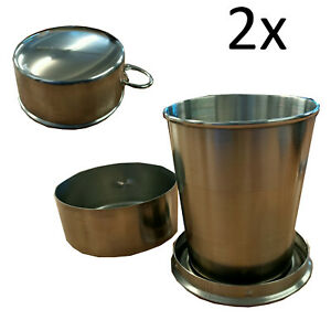 2 x STAINLESS STEEL FOLDING COLLAPSIBLE CUPS camping portable traveL 140ml