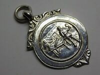 1949 VINTAGE ENGLISH STERLING SILVER LPHTTL (TABLE TENIS) WATCH FOB MEDAL. (NCB)