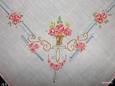 70 x 70 cms Vintage Mirco half Cross Stitch Irish Linen Embroidered Tablecloth