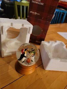 Eddie Bauer  Snow Globe 2002 Wood Base Winter Christmas penguin scene