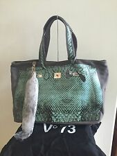 New without Tags V73 'Python Sky' Painted Canvas Shoulder Bag Handbag Tote