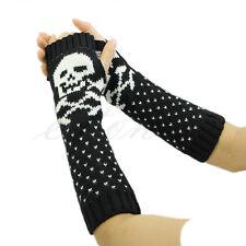 Cool Skull Head Knitted Wrist Arm Long Fingerless Mitten Winter Glove Soft Warm