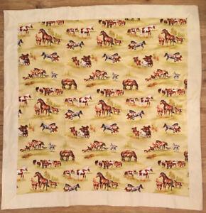 "Vintage Hand Made Crib Blanket Horses Yellow 34"" X 34"""