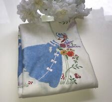 Beautiful HEAVILY HAND EMBROIDERED Crinoline Lady Vintage Linen Tablecloth