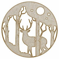 Nightime Forest Stag MDF Laser Cut Craft Blanks in Various Sizes