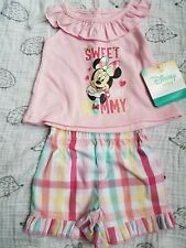 Baby girl clothes 0-3 months outfit 2 piece Disney Minnie Mouse pink plaid Nwt