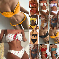 Women Two Piece Bikini Set Strapless Bandeau Swimwear Swimsuit Bathing Beachwear