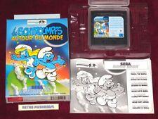 SEGA GAME GEAR-Les Schtroumpfs autour du monde! complet jeu, V. RARE! Schtroumpfs!