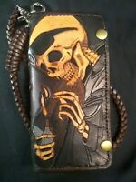 Tooled Leather Biker Wallet. $49.75 No Chain.
