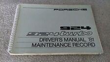 PORSCHE 924 TURBO DRIVERS MAINTENANCE HANDBOOK MANUAL, GENUINE ITEM, FREE POST.