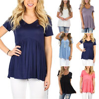 Plus Size Womens Short Sleeve T Shirts Scoop Neck Blouse Casual Loose Swing Tops