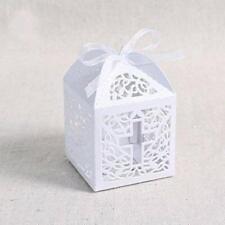 Holy Cross Baptism Christening Candy Bomboniere Box White Laser Cut