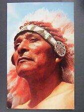 Indian Warrior Headdress Color Chrome Postcard 1950s Vintage