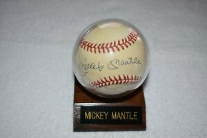 Mickey Mantle signed baseball with stand