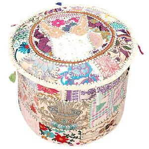 Indian Round Pouf Cover Patchwork Fabric Ottoman Bohemian Footstool Bohemian 22""