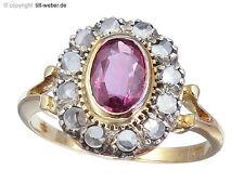 "Ring ""Rubin"" Diamantrosen Gold Silber"