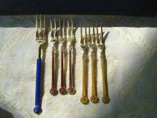 David Andersen Guilloche Enamel Sterling Silver Forks 925S Norway 71.7 Grams