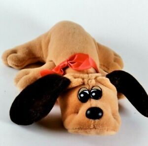 Vintage 1985 Tonka 8in Brown POUND PUPPIES Dog Plush Stuffed Puppy w/ Red Collar