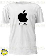 Apple Mac Byte Me Parody Tee Shirt Funny Humor Machintosh Computer iPhone iPod