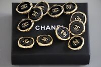 Chanel buttons lot of 16 size 0,8 inch 20 mm logo CC black & gold metal