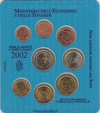 A) SERIE DIVISIONALE 2002 FDC - OTTO VALORI IN CONFEZIONE DELLA ZECCA ITALIANA