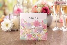 Colorato Floreale Matrimonio Invito Carte Personalizzati Stampato Tasca Inviti