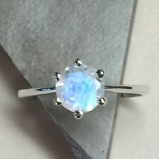 Genuine Rainbow Moonstone 925 Solid Sterling Silver Solitaire Ring sz 5.75