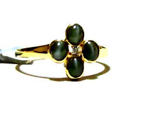 10K Yellow Gold Cat's Eye Green Alexandrite Oval & Diamond Band Ring, 1.21(TCW)