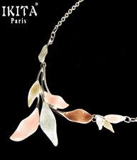 Luxus Statement Kette IKITA Paris Halskette Emaille Versilbert Blatt Kollier