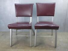 2 Mid Century Aluminum RoyalChrome Royal Chrome Vtg Industrial Red Deco Chairs