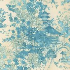 Coupon de Tissu patchwork japonisant - Pagodes et feuillages turquoises 45x55cm
