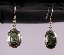 Moldavite Earrings Sterling Silver