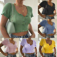 Womens Summer Sexy Slim-Fit Ribbed T-shirt Short-Sleeved Button Crop Top Blouse