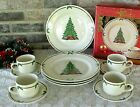 Vintage Christmas Dinnerware Set 12 Pics. Holly Decorated Tree Gifts Stoneware