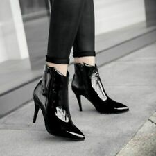 Stylish Women Patent Leather Stilettos Zipper Ankle Boots Pointed Toe Pumps Size