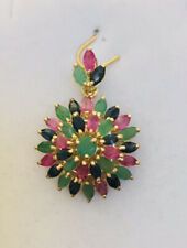 14k Solid Yellow Gold Flower Pendent Mixed Stone Ruby/sapphire/Emerald 3.13GM