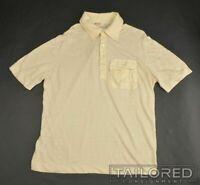 ZILLI Solid Yellow LINEN SILK Mens Casual Short Sleeve Polo Shirt - EU 54 / M
