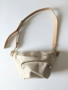 Sportsgirl Canvas Bag Shoulder Cream Tan bum bag shape