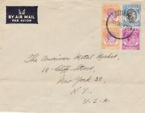 MALAYA 1953 Straits Settlements Singapore KGVI Airmail Cover to USA M2599