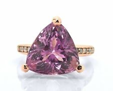 14k Rose Pink Gold 17ct Patroke Trillion Natural Kunzite Diamond Ring Size 7 AAA