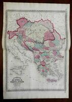Austria-Hungary Hapsburg Empire Ottoman Empire 1870 AJ Johnson Scarce Issue map