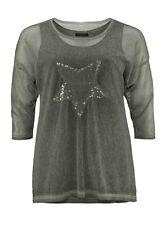 CISO Bluse Top Tunika Shirt, 2 in 1, Gr. 48/50, Khaki, Pailetten-Stern, NEU