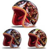 DOT Motorcycle Helmet Open Face Freehand Sketch Handmade Scooter Half 3/4 Helmet
