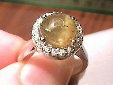 REAL RING 7 TIGER'S CAT EYE WHITE GOLD STERLING SILVER 925 SAPPHIRE natural soli