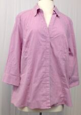 Riders By Lee Plus Size 1XL Button Front Pink Striped 3/4 Sleeve Blouse C402